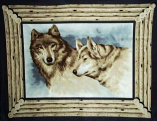 Fleece Wall Hanging Blanket Wolves Wolf Brown Pair New