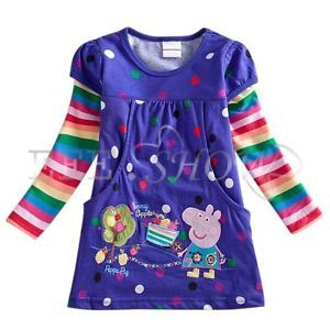 New Purple Peppa Pig Polka Dots Girls Tops Dress T Shirt Clothing Kid Toddler 3T