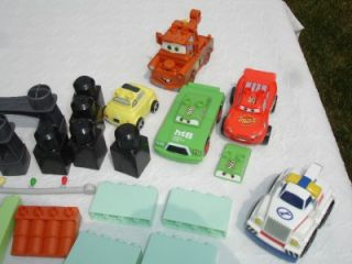Lot 66 PC Disney Pixar Cars Mega Bloks Blocks Luigis Garage Gas Corner Radiator