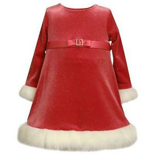 NWT Bonnie Jean Infant Girls Red Santa Christmas Holiday Dress Was $44