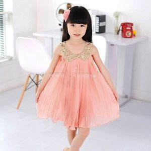 1pc Girls Kids Baby Chiffon Sequin Top Pleated Dresses Outfit Clothes Sz 5 Pink