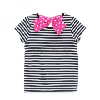 Girls Kids Minnie Mouse Stripe Top T Shirt Costume Clothes Short Sleeve Sz 4 7 Y