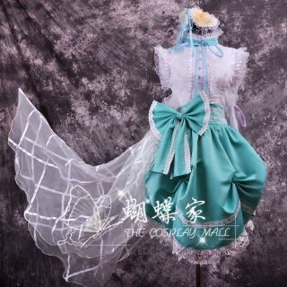 Macross F Sheryl Nome Queen Cover Costume Sweet Cute Bow Lolita Cosplay Dress 13