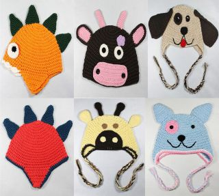 Cute Knit Earflap Hat Baby Child Girl Boy Photograph New Dinosaur Cow Dog 6Color
