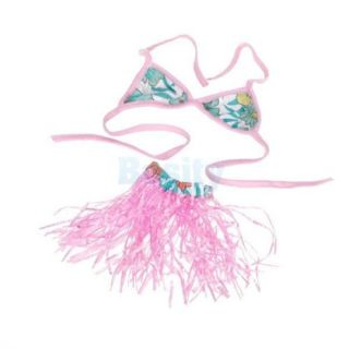 Hawaiian Pet Dog Costume Bikini Hula Skirt Holiday Dress Swimming Suit Clothes S