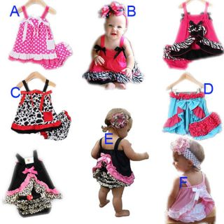 1 Sets New Baby Girls Tank Ruffle Top Pants Bloomers Nappy Cover Dress Outfits