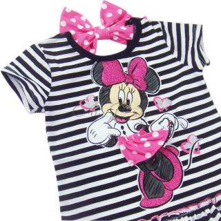 Girl Baby Black Striped Minnie Mouse Costume Top T Shirt Pants Outfits Sz 2 3 4