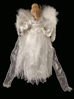 "14"" Winter Solace Warm White Lighted Porcelain Angel Christmas Tree Topper"