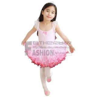 Pink Girl Kid Fairy Ballet Dance Skating Dress Tutu Leotard Party Costume Sz 4 7