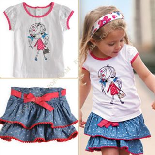 2pcs Baby Girl Kid T Shirt Top Skirt Petticoat Tutu Outfit Clothes Costume TYA6