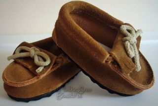 "Apryl Doll Clothes Fits 18"" American Girl Suede Moccasins Shoes Brown"