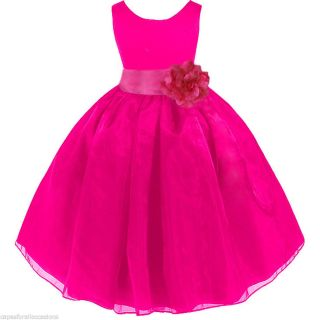 Fuchsia Pageant Party Wedding Organza Flower Girl Dress 12 18M 2 3T 4 5T 6 8 10