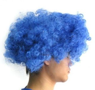 Blue Clown Elasticized Wig Jester Costume Prop Afro Halloween Costume