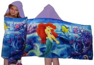 Disney Princess Ariel Little Mermaid Girls Kids Hooded Beach Pool Bath Towel