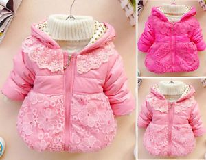 Baby Girls Toddler Lace Floral Clothes Kids Winter Jacket Coat Snowsuit 1 5years