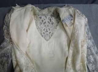 Vtg Jessica McClintock Gunny Sack Wedding Dress Gown Lace Sequin Long Ivory 8