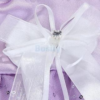 Princess Pet Dog Wedding Dress Apparel Clothes Purple L
