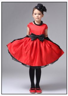 Red Cute Kids Girls Princess Dress Formal Party Dress FOR12 18 Month Size 90 C10
