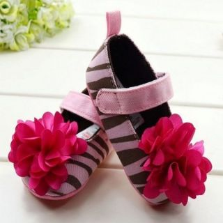 Silk Flower Soft Velcro Zebra Stripes Shoes Walking Shoes Kid Toddler Baby Girl