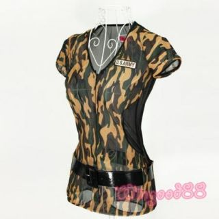 Women Ladies Sexy Camouflage Dress Cosplay Club Party Costume Lingerie Outfits