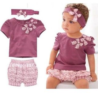 Kids Clothing Toddler Baby Girls Infant Top Pant Headband 3pcs Set 100 Code