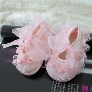 Sweet Baby Girl Newborn Infant Toddler Non Slip Lace Flower Shoes Pink 0 3month
