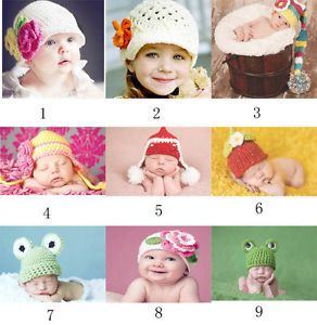 Fashion Lovely Crochet Knitted Baby Hat Girl Boy Diaper Photography Prop Hat Cap