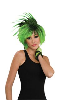 Lime Twist Punk 80's Wig Womens Halloween Costume