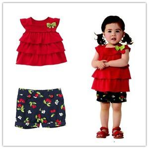 2pcs Clothes Red Tops Pants Outfit Set for 1 2Y Girl Baby Kid