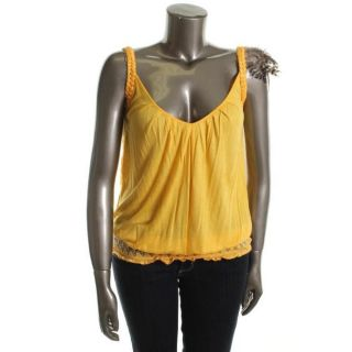 Baby Phat New Yellow Jersey Pleated Feathers Tank Top Shirt XL BHFO