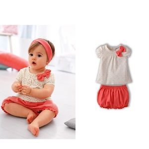 2pcs Baby Infant Girls Bow Cherry Top Red Bloomers Pants Clothes Newborn 12M New