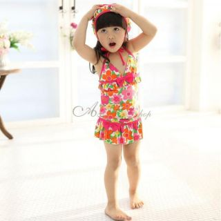 Girls Floral Halter Tankini Swimsuit Swimming Costume Swimwear Ages 5 9 Years