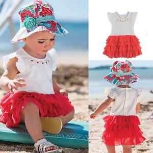 New Infant Baby Girl Dress One Piece Tutu Ruffle Chiffon Clothing Outfit 0 36M