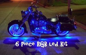 New RGB R C 6pc 7 Color LED SMD Motorcycle Light Kit Harley Davidson