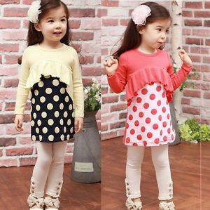 Baby Toddler Girls Kids Clothes 2 Piece Set Dress Top Leggings 2 7Years Outfit