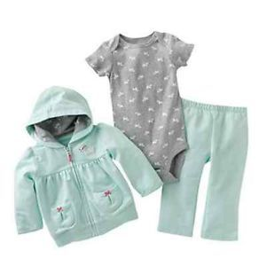 Carters Baby Girl Fall Winter Clothes 3 Piece Set Mint 3 6 9 12 18 24 Months