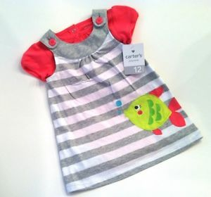 12 Month Girls Pink Grey Fish Dress with Onesie Carters Baby Clothes
