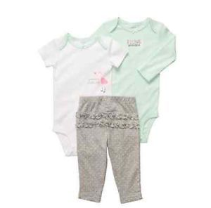 Carters Baby Girl Clothes 3 Piece Set Mint Gray Bird 3 6 9 12 18 24 Months