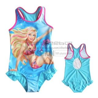 Girls Kids Barbie Swimsuit Swimwear Blue 5 6 Years Swimming Costume Bathing Suit