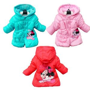 Baby Kids Girls Jacket Minnie Hooded Winter Top Coats Warm 2 6Y Outwear Clothing