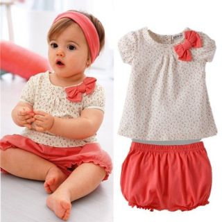 2pcs Baby Girl Infant Toddler Floral Top Ruffle Pants Shorts Set Clothes Outfit