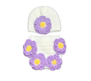2pcs Girls Baby Infant Crochet Cap Hat Pants Flower Photo Prop Clothes Outfit