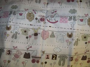 Itty Bitty Bella Pink Cotton Fabric Baby Clothes Print 1 Yard Marcus