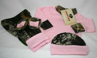 Mossy Oak Camo 4 PC Baby Infant Set Pink Shirt Camouflage