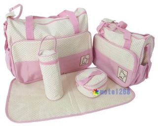 5pcs Multi Functional Baby Diaper Nappy Changing Bags Blue Coffee Pink M00