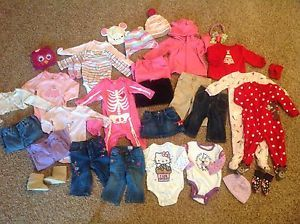 Cute Baby Girl Fall Winter Clothing Lot 6 9 12 Months 37 Pieces Gymboree Gap