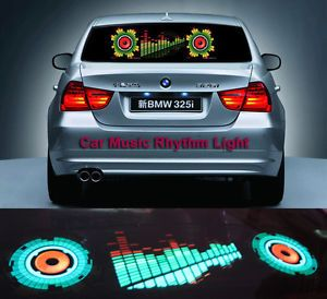 90x25cm Car Sticker Music Rhythm LED Lights Lamp Sound Activated Equalizer Horn