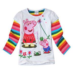 Peppa Pig Baby Girl Top T Shirt Toddler Kid Rainbow Stripe Sleeve Clothing White
