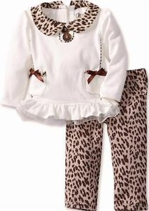 "New Baby Girls ""Ivory Brown Leopard"" Size 12M Top Legging Pant Clothes"