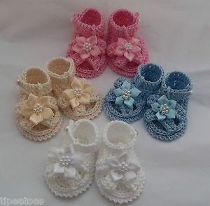Handmade Baby Girl Crochet Sandals Shoes Great for Reborn Dolls Too